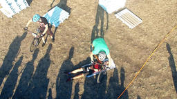 Cyclists jump over people in bicycle aerial HD video. MTB tricks Extreme sport Footage