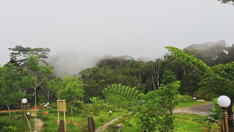 Closeup Yersin House Site in White Thick Mist from Mountains Footage