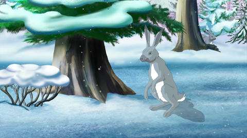 Gray Bunny in Winter Animation