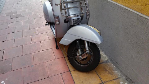 Vintage Vespa Scooter On Street Footage