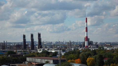 Timelapse video of oil refinery at cloudy day Footage