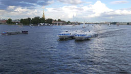 Two connected hydrofoil boats ride together, Neva river open area Footage
