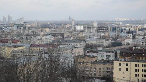 Panorama of the Kiev city and architecture of Podil Live Action