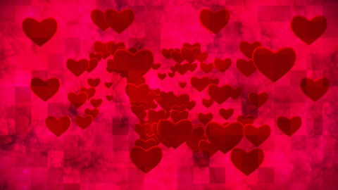 Broadcast Grungy Pulsating Hearts Smoke Squares, Red, Events, 3D, Loopable, HD Animation