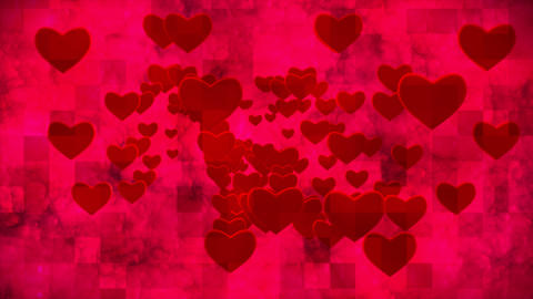 Broadcast Grungy Pulsating Hearts Smoke Squares, Red, Events, 3D, Loopable, 4K Animation