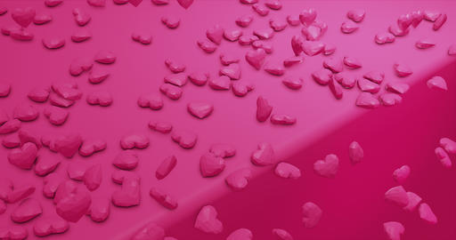 Pink cute falling polygonal hearts. Valentines Day. event background. 3D Animation