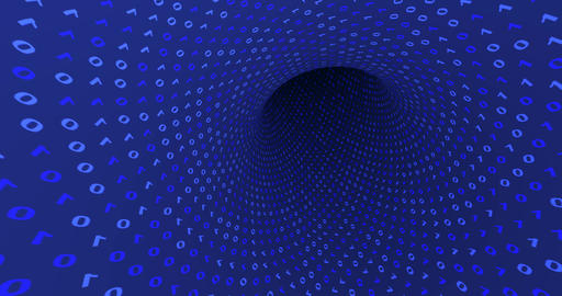 Neon Digital binary tunnel. Seamless loop 4k background for network, big data Acción en vivo