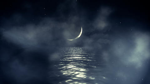 Ocean and Crescent Moon on a Starring Night in Seamless Loop Live Action