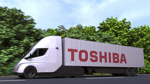 Electric semi-trailer truck with TOSHIBA logo on the side. Editorial loopable 3D Acción en vivo