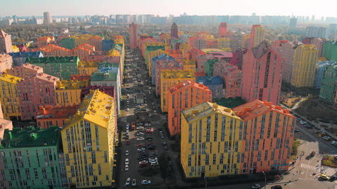 Comfort Town, aerial. Residential district in Kiev Live Action