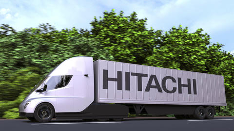 Electric semi-trailer truck with HITACHI logo on the side. Editorial loopable 3D Acción en vivo