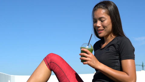 Sporty Woman Drinking Healthy Juice Against Sky - Healthy Diet Detox Juice Live Action