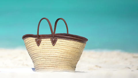 Beach Bag On Shore At Beach - Wicker Bags Summer Vacation Concept Live Action