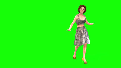 472 4K 3d animated attractive woman walking talking and smiling Animation