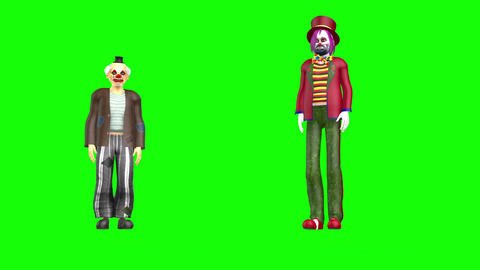 479 4K 3 d animated two clowns street dance Animation