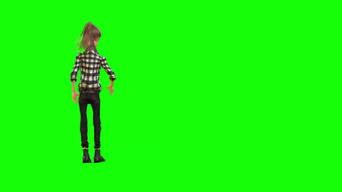 481 4K 3d animated thin cartoon girl jumps Animation