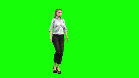 482 4K 3d animated woman in blue shirt talks and sits down Animation