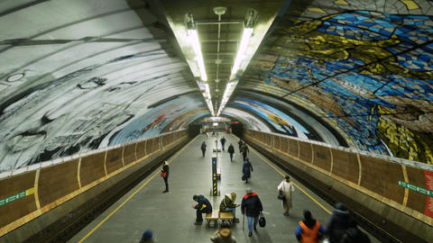 Timelapse of people and tourists inside modern subway station in big city Live Action