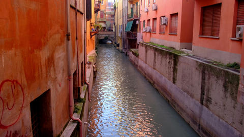 emilia romagna landmarks of Bologna - Italy - the Canale di Reno or Canal of the Live Action