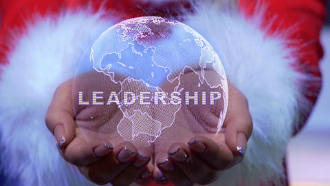 Hands holding planet with text Leadership Live Action