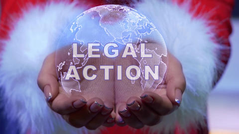 Hands holding planet with text Legal action Live Action