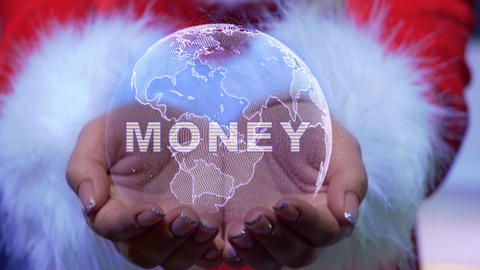 Hands holding planet with text Money Live Action