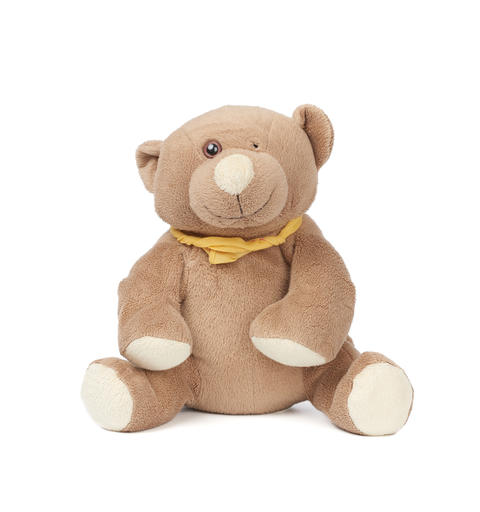 miserable brown teddy bear sitting on a white isolated backgroun Fotografía