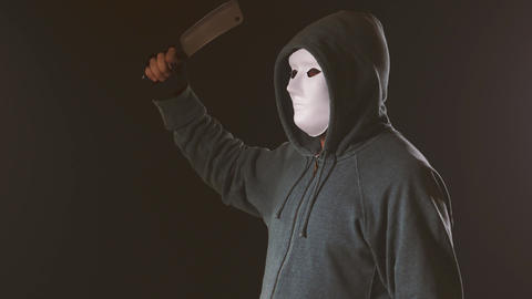 Killer in white mask and hoodie swings knife Live Action
