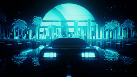 3D Blue Retro Synthwave Night City Car VJ Loop Motion Background Animation
