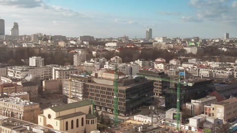 WARSAW, POLAND - FEBRUARY 3, 2020. Aerial view of urban construction site within Live Action