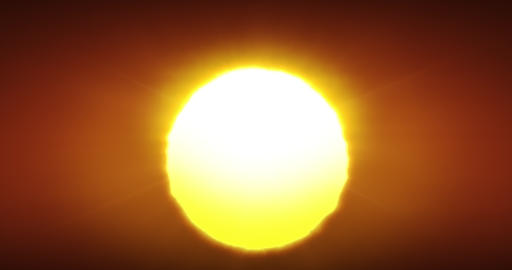 Beautiful Clear Big Sunrise or Sunset Close-up Looped Animation. Big Red Hot Sun Live Action