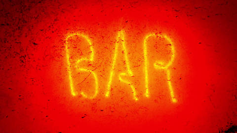 Blinking neon bar sign Footage
