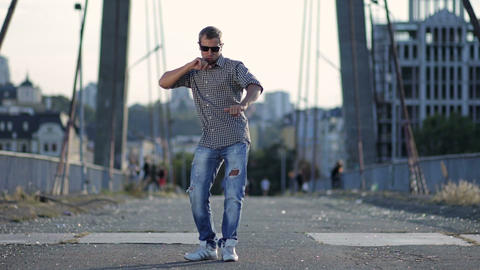 Urban dancer showing some movements Footage