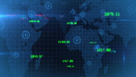 Business financial corporate data network world map background loop 03 Animation