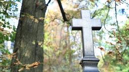 Marble black cross in a graveyard Footage