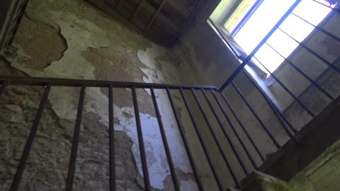 Old Staircase in a Ruined House Footage