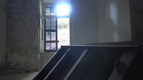 Inside an Old Ruined Room Footage