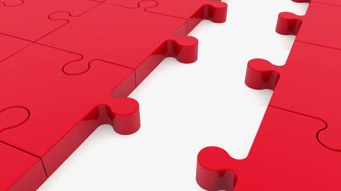Moving rows of puzzle pieces with ball in blue and red colors Animation