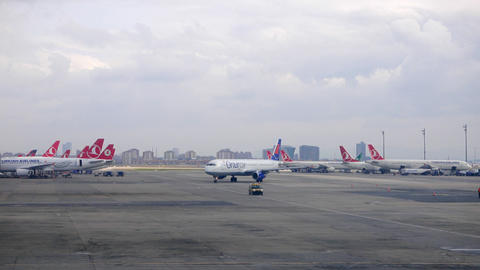 Istanbul airport. Aircraft parked. Istanbul, Turkey Footage