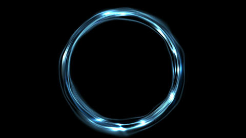 Electric blue neon iridescent flowing ring video animation Animation