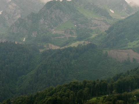 Mountainside in clouds. Spole. Panorama. Time Lapse. Sochi, Russia Footage