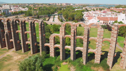 Front view of Aqueduct of Miracles, Merida, Spain Live Action