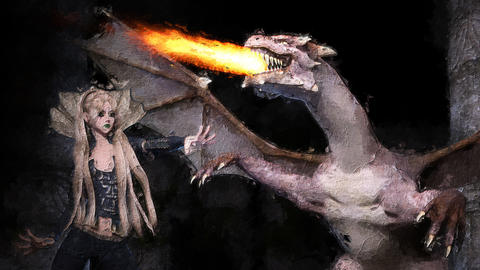 Digital artistic sketch animation of a female with dragon based on a self-created 3D illustration Animation