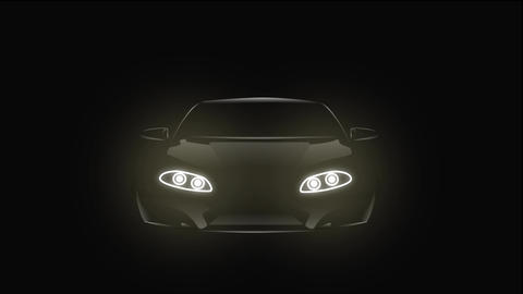 2D animation, black car turning on and off headlight. Front view of automobile Live Action