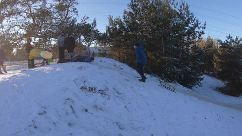 Sledding in the winter forest of students of school number 136 in Pridneprovsk Live Action
