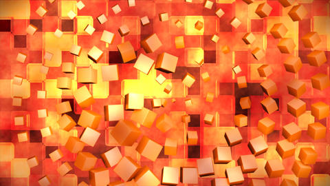 Broadcast Hi-Tech Spinning Cubes Squares, Orange, Abstract, 3D, Loopable, 4K Animation