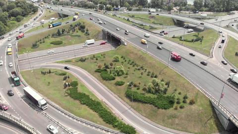Automobile transport interchange in Kyiv. Ukraine. Aerial Live Action