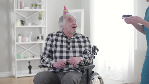 Portrait of cheerful old Caucasian man in wheelchair receiving birthday cake Live Action