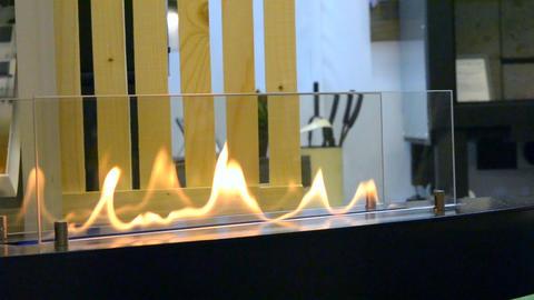 Modern bio fireplot fireplace on ethanol gas. Smart ecological Live Action