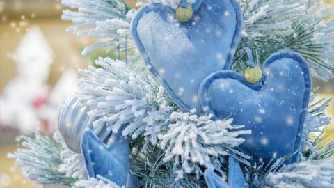 Decorative snow-covered Christmas tree decorated with decorative Christmas-tree Live Action